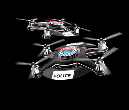drones: Two police drones on black background. Original design.