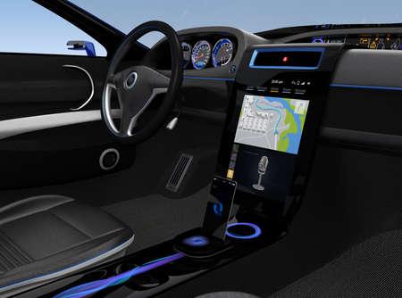 navegacion: Diseño de interfaz de usuario de la consola de Eelectric coche con pantalla de mapa de navegación.