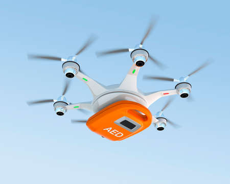 delivers: Ambulance drone delivers AED kit for emergency medical care concept. Stock Photo