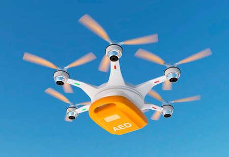 emergencia medica: Drone Ambulancia ofrece kit de AED por concepto de atención médica de emergencia. Foto de archivo
