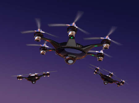 city surveillance: Drone with surveillance camera flying in night sky. Security system concept.