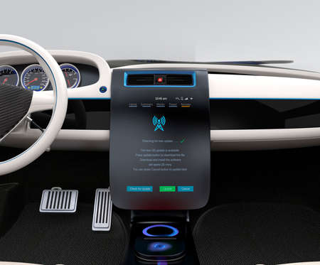 dash: Update vehicle software just touch cars center console screen. Concept for new software solution for automobile. Original design.