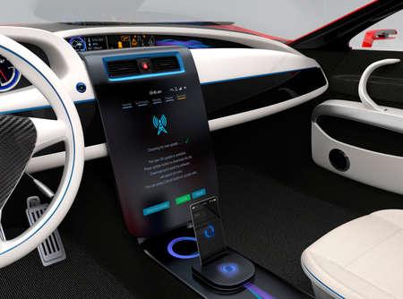 업데이트 차량 소프트웨어는 자동차의 센터 콘솔 화면을 터치합니다. 자동차에 대한 새로운 소프트웨어 솔루션에 대 한 개념입니다. 원래 디자인.
