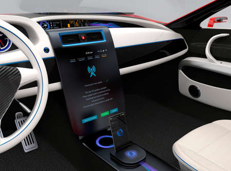 Update vehicle software just touch cars center console screen. Concept for new software solution for automobile. Original design.
