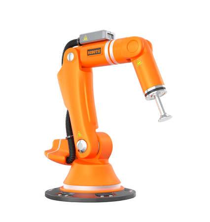 白い背景に分離されたオレンジ色のロボット アーム 写真素材