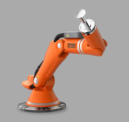 engineering tool: Orange robotic arm isolated on gray background Stock Photo