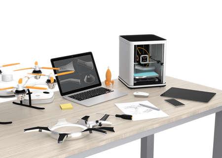 3 D プリンター、ノート パソコン、タブレット PC、テーブル、DIY のための新技術の概念のドローン。 写真素材