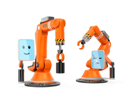 user friendly: Two robotic arms with monitor which showing cute character face icon. User friendly interface easy to control the machine. Original design.