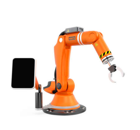 arm: Orange robotic arm with touch panel screen. User can setting task schedule by this smart system. Original design.