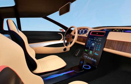 電気自動車のコンソール。ユーザーを使用してシステムを制御するのには、画面をタップします。オリジナルのデザイン。 写真素材