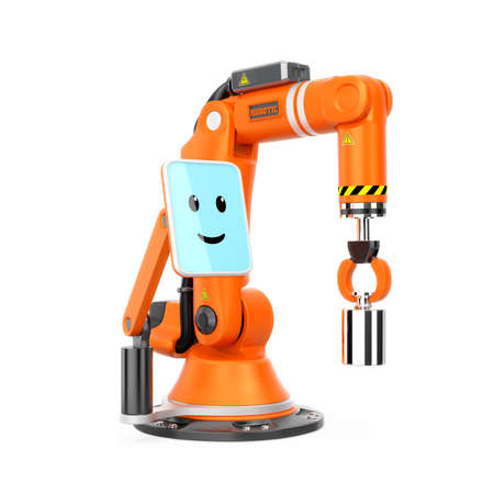 user friendly: Robotic arm with monitor which showing smile face icon. User friendly interface easy to control the machine. Original design. Stock Photo