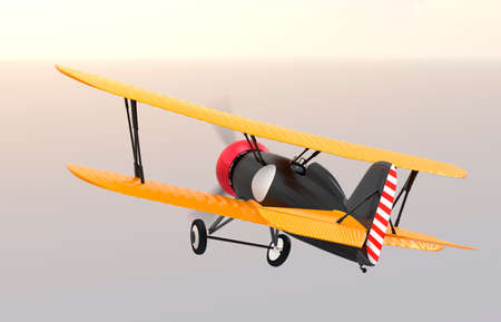 fixed wing aircraft: Rear view of biplane flying in sunset sky