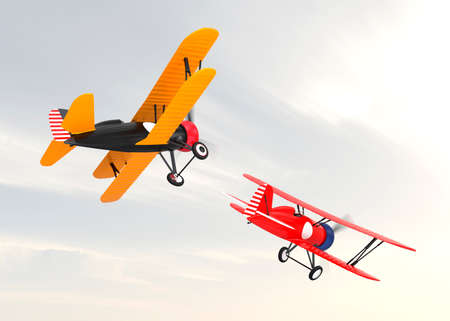 fixed wing aircraft: Two biplanes flying in the sky.