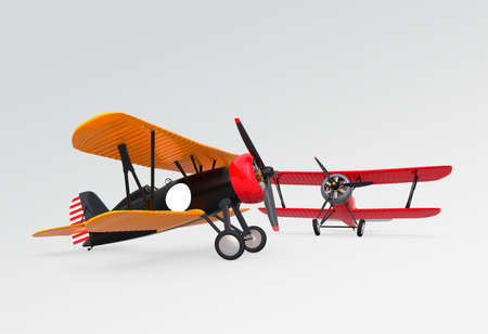 fixed wing aircraft: Two biplanes on the ground. Clipping path available.
