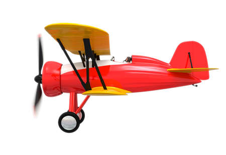 fixed wing aircraft: Side view of red and yellow biplane isolated on white background. Clipping path available. Stock Photo