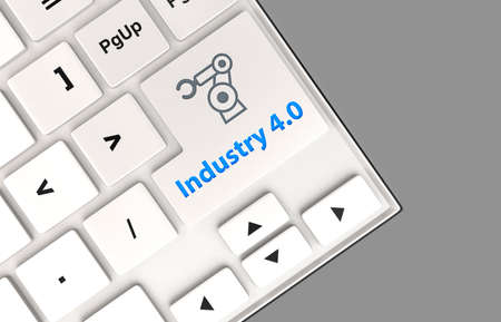 smart: Robotic arm icon and word industry 4.0 on keyboard. Concept for industry 4.0