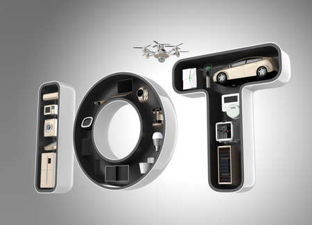 server technology: Smart appliance in word IoT. Internet of Things in consumer products concept.