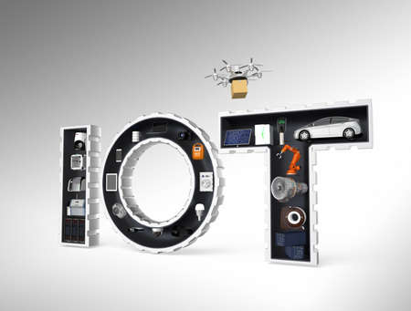 Smart appliances in word IoT. Internet of Things in industrial products concept.