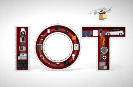 industry concept: Smart appliances in word IoT. Internet of Things in industrial products concept.