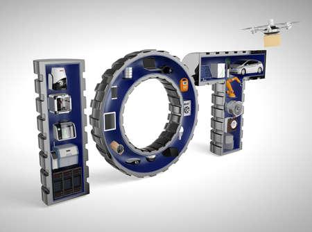 seguridad industrial: Aparatos inteligentes en palabra IO. Internet de las Cosas en los productos industriales concepto.