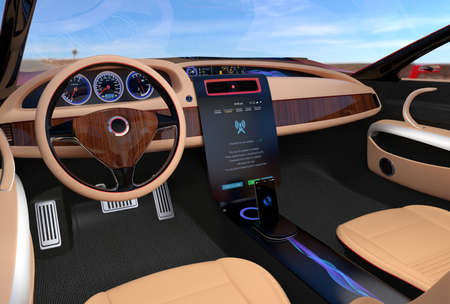 software solution: Update vehicle software just touch cars center console screen. Concept for new software solution for automobile. Stock Photo