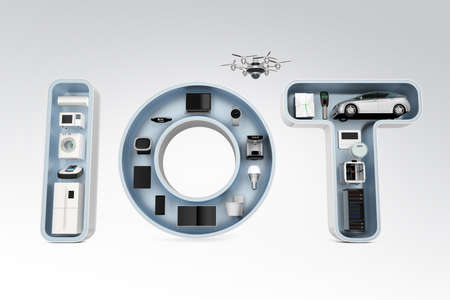 consumer products: Smart appliances in word IoT. Internet of Things in consumer products concept.