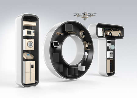 consumer products: Smart appliance in word IOT. Internet of Things in consumer products concept.