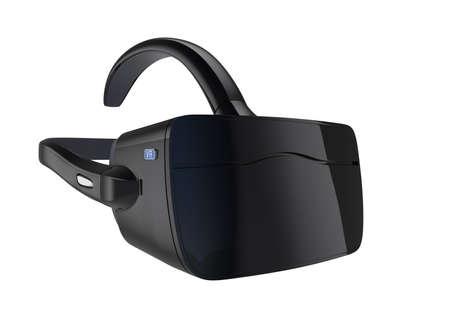 Black VR headset isolated on white background.