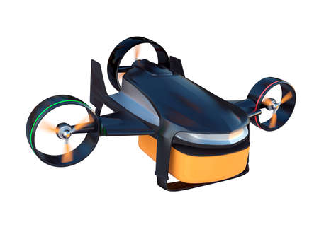 Hybrid drone with 2 mode to fly. lift up vertically and flying in horizon. Clipping path available.