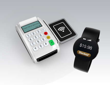 cardreader: Using smart watch to process payment. Smart cashless mobile payment concept. Stock Photo