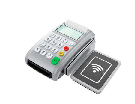 contactless: POS device with touch-less pad for nfc system. Smart cashless mobile payment concept.