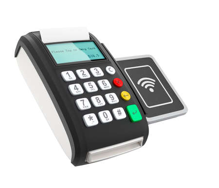 merchant: POS device with touch-less pad for nfc system. Smart cashless mobile payment concept.