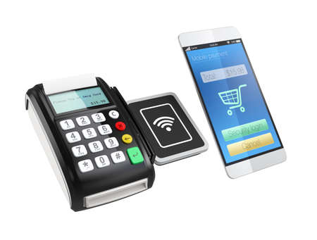 merchant: Using smart phone to process payment. Smart cashless mobile payment concept.