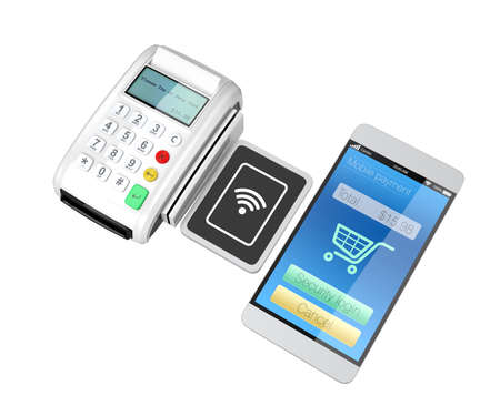 reader: Using smart phone to process payment. Smart cashless mobile payment concept.
