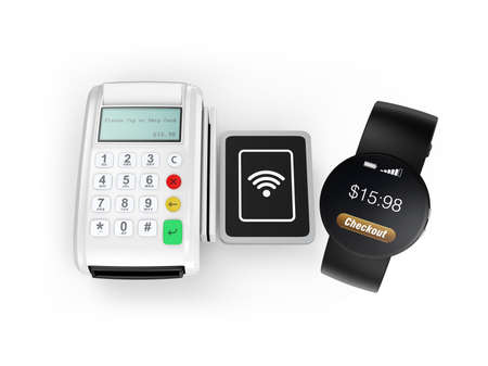 cashless: Using smart watch to process payment. Smart cashless mobile payment concept. Stock Photo