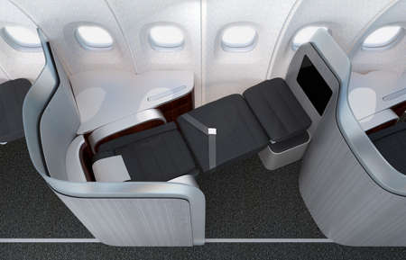 partition: Close-up of luxurious business class seat with frosted acrylic partition. 3D rendering image in original design. Stock Photo