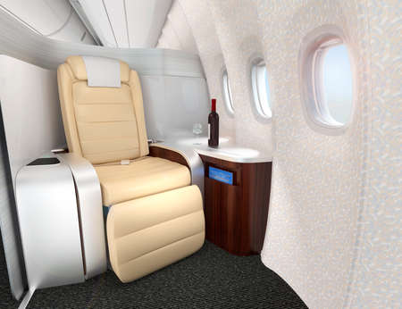 Close-up of luxurious business class seat with metallic silver partition. 3D rendering image in original design. Foto de archivo