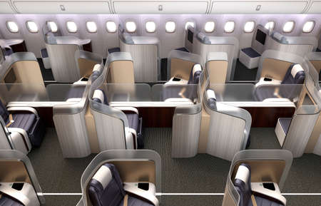 partition: Luxurious business class cabin interior. Each seat divided by frosted acrylic partition. 3D rendering image in original design.