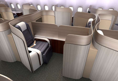 flight: Luxurious business class cabin interior with metallic gold partition.  3D rendering image in original design. Stock Photo