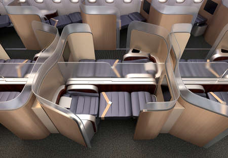 footrest: Luxurious business class cabin interior. Each seat divided by frosted acrylic partition. 3D rendering image in original design.