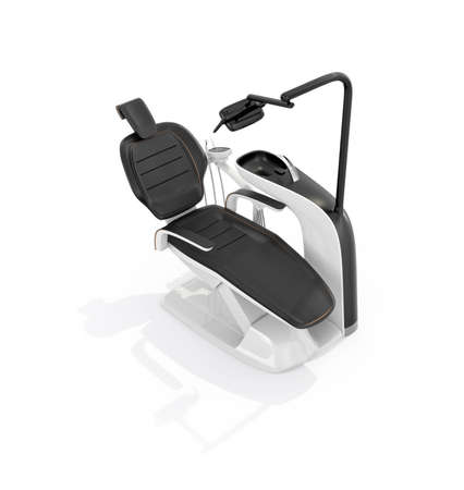 Stilvolle Zahnarztstuhl auf weißem Hintergrund. Clipping-Pfad zur Verfügung. Original Design.