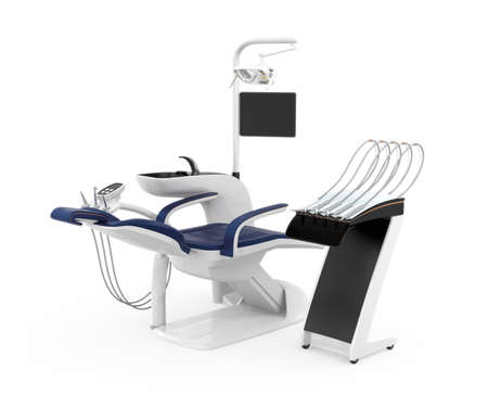 Stylish dentist chair isolated on white background. Clipping path available. Original design.