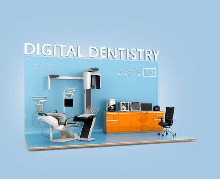 odontologia: concepto de la odontolog�a digital. De entrada de datos de pacientes faciales por TC dental, a continuaci�n, enviar a los comentarios del lado de la silla. impresi�n del diente se podr�a escanear mediante TAC o esc�ner 3D, impresi�n con la impresora 3D. Dise�o original.
