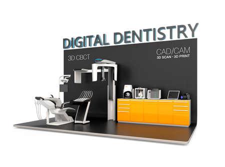 디지털 치과 개념입니다. 치과 용 CT로 입력 환자의 얼굴 데이터는 다음 의자 측 의견을 보내주십시오. 치아의 인상은 3D 프린터로 CT 또는 3D 스캐너, 인