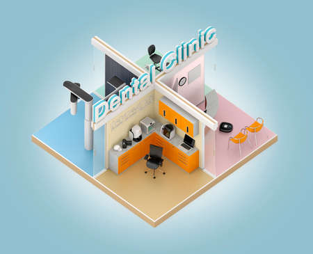medical cabinet: Isometric view of dental clinic model with CADCAM devices. 3D rendering image with clipping path. Original design.