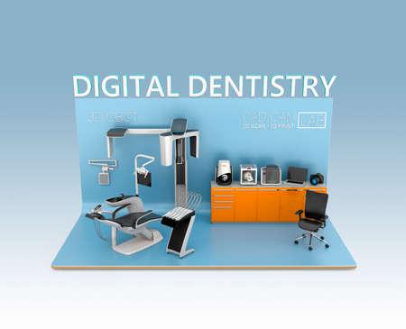 Concept de la dentisterie numérique. Entrée des patients données faciales par CT dentaire, puis envoyer à côté de la chaise commentaire. Tooth impression pourrait être scan par CT ou d'un scanner 3D, l'impression par imprimante 3D. Design original.