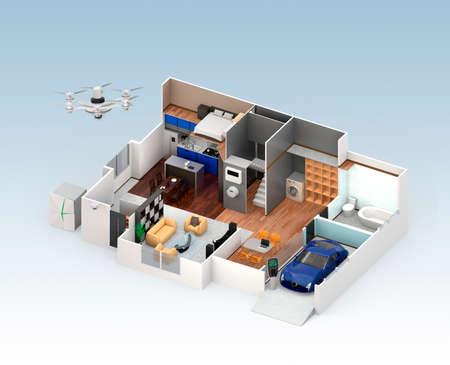 スマート住宅インテリアの断面図ビュー。この家はホーム バッテリ システム、省エネ家電と電気自動車と供給。