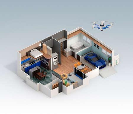 Cutaway Blick auf intelligente Haus unter. Dieses Haus Versorgung mit nach Hause Batteriesystem, Energiespargerät und Elektroauto. Standard-Bild
