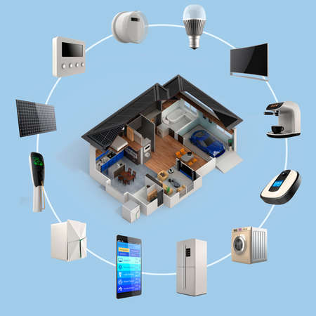 スマート ホーム オートメーション技術の 3 D のインフォ グラフィック。利用可能なスマート家電サムネイル画像。
