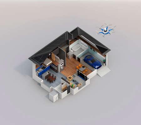 복사 공간이있는 스마트 홈 자동화 기술 컨셉 이미지